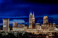 """Cleveland skyline"", Ohio, ""canvas print"", night photo, ""high resolution"""
